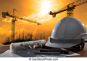 épület, sisak, biztonság, színhely, pland, erdő, építészmérnök, reszelő, asztal, szerkesztés, napnyugta