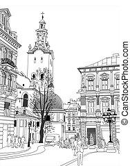 épület, skicc, ábra, lviv, vektor, történelmi