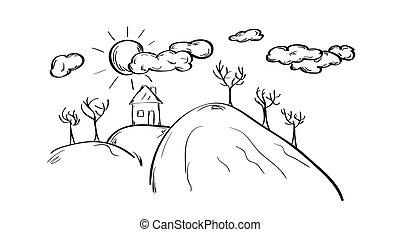 épület, skicc, hegy