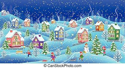 épület, snowcovered, tél parkosít, éjszaka