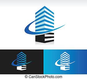 épület, swoosh, modern, ikon