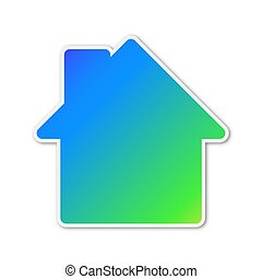 épület, színes, icon., vektor