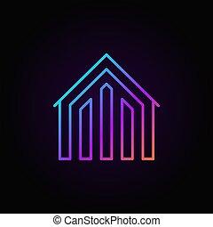 épület, színes, ikon