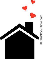 épület, szív, ikon
