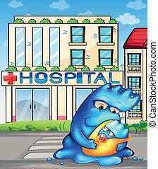 épület, szörny, neki, kórház, gyermek, elülső