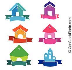 épület, szalagcímek, vektor, színes