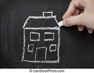 épület szerkesztés, építészet, birtok, otthon, chalkboard, tényleges