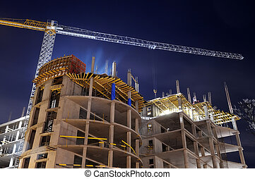 épület szerkesztés, házhely, éjszaka