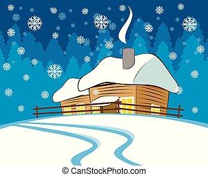 épület, tél, falu