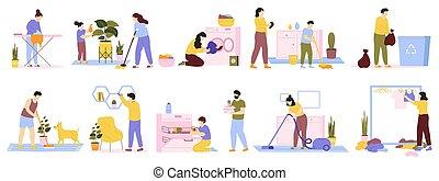 épület, takarítás, kiporszívóz, ironing., vektor, napi, állhatatos, otthon, cleaners., család, háztartás, háztulajdonos, ábra, gyakorlatozások, mosás, belföldi