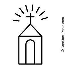 épület, templom, elszigetelt, ikon