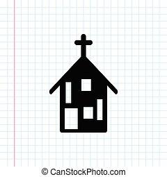 épület, templom, fekete, ikon