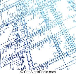 épület, terv, vektor, építészet, háttér.