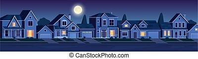 épület, utca, éjszaka, külváros, körzet