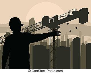 épület, város, őrzés, eljárás, vektor, konstruál