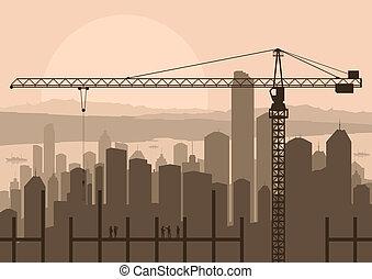 épület, város, ipari házhely, ábra, láthatár, szerkesztés, vektor, felhőkarcoló, háttér, daru, táj, konstruál