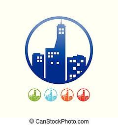 épület, városi, állhatatos, árnykép, jelkép, kereskedelmi tervezés, karika, ikon