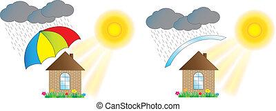 épület, védett, esernyő