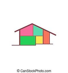 épület, vektor, ikon