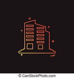 épület, vektor, tervezés, ikon