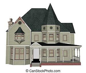 épület, viktoriánus, -, render, 3