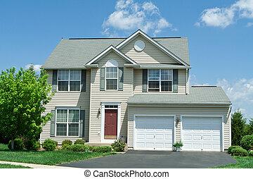 épület, vinyl, elülső, egyes család, md, otthon, mellékvágány