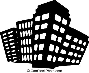 épület, white háttér, ikon