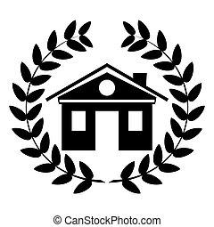 épület, wreath., fekete, borostyán, jel, fehér