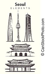 épületek, állhatatos, seoul, skicc, hand-drawn, vektor, alapismeretek