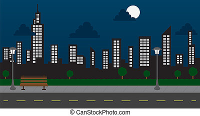 épületek, éjszaka, liget, utca