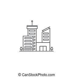 épületek, ügy, elszigetelt, vektor, háttér, fehér, ikon