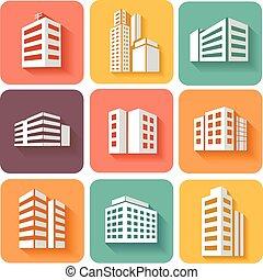 épületek, dimenzionális, állhatatos, árnyék, ikonok