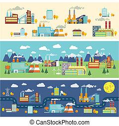 épületek, iparág, horizontal lobogó