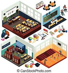 épületek, isometric, tervezés, izbogis, osztálytermek