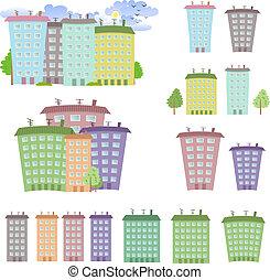 épületek, karikatúra, gyűjtés