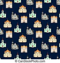 épületek, keresztény, pattern., seamless, háttér, templom, templomok