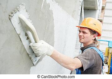 épülethomlokzat, építő, munka, kőműves