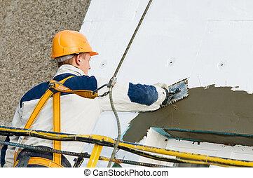 épülethomlokzat, megállítás, művek, surfacer
