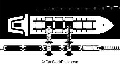érc, hajó, ipari, vasút, átszállítás, daru, wagons