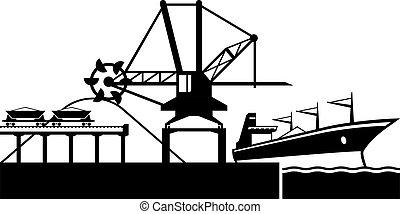 érc, ipari hajó, berakodás nyújtogat