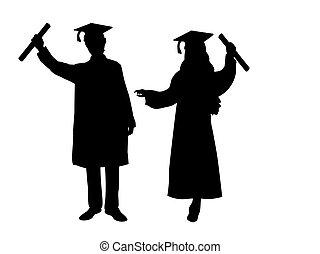 érettségizik, leány, fiú, körvonal, boldog