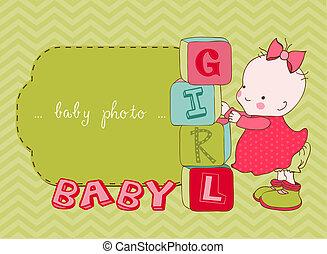 érkezés, fénykép keret, vektor, csecsemő lány, kártya