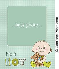 érkezés, fiú, fénykép keret, vektor, csecsemő, kártya