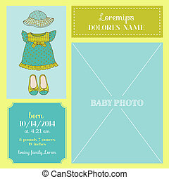 érkezés, frame-, fénykép, -, vektor, csecsemő lány, ruha, kártya