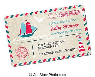 érkezés, levelezőlap, -, zápor, téma, vektor, tenger, tengeri, csecsemő, vagy
