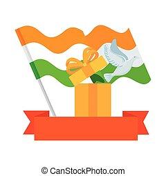 érkező, galamb, háttér, india, doboz, tehetség, white out, szalag, zászlók