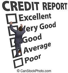 értékelés, ügy, feláll, hitel, bemetsz, épít, ember