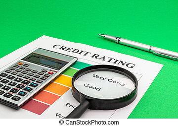 értékelés, calculator., pohár, hitel, akol, magasztalás