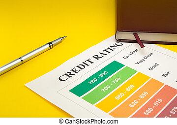 értékelés, sárga, hitel, notebook., akol, asztal