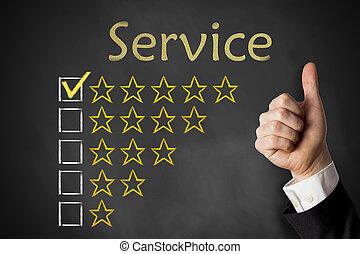 értékelés, szolgáltatás, feláll, lapozgat, csillaggal díszít, chalkboard